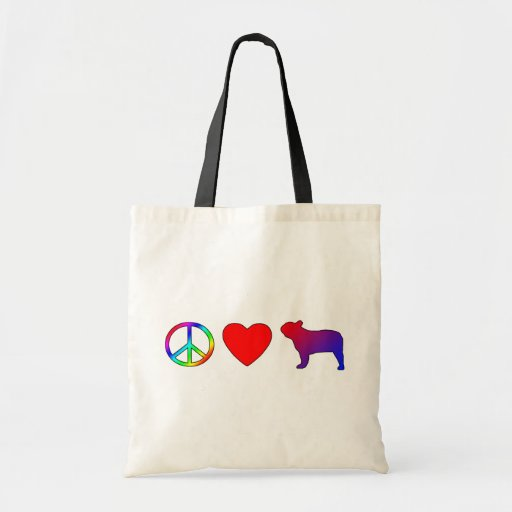Peace Love French Bulldogs Tote Bag