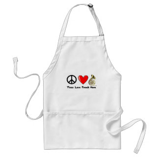 Peace, Love, French Horn Adult Apron
