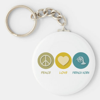 Peace Love French Horn Basic Round Button Keychain