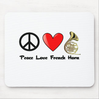 Peace, Love, French Horn Mouse Pad