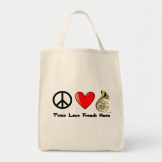 Peace, Love, French Horn Tote Bag
