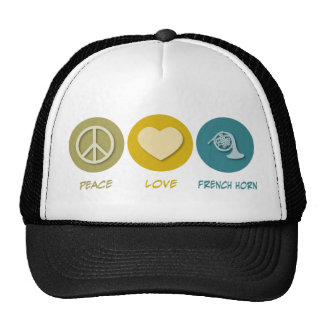 Peace Love French Horn Trucker Hat