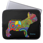 """Peace Love & Frenchies"" Pop Art Laptop Sleeve"
