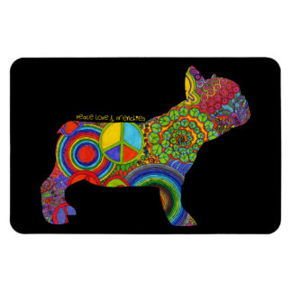 """Peace Love & Frenchies"" Pop Art Magnet"