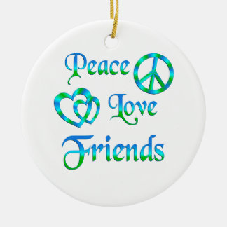 Peace Love Friends Double-Sided Ceramic Round Christmas Ornament