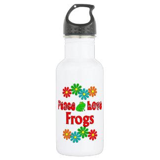 Peace Love Frogs 18oz Water Bottle