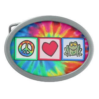 Peace, Love, Frogs Oval Belt Buckle