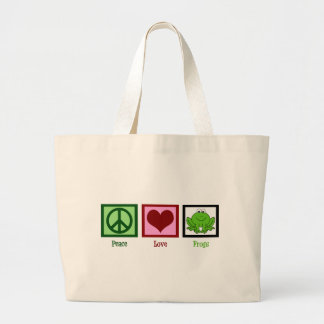 Peace Love Frogs Jumbo Tote Bag