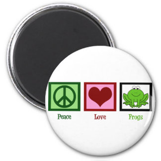 Peace Love Frogs 2 Inch Round Magnet