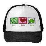 Peace Love Frogs Mesh Hats