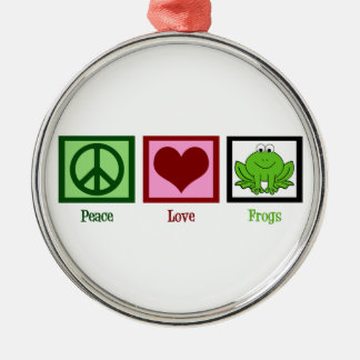 Peace Love Frogs Metal Ornament
