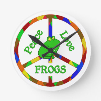 Peace Love Frogs Round Clock