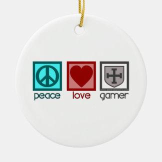 Peace Love Gamer Ceramic Ornament
