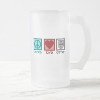 Peace Love Gamer Frosted Glass Beer Mug