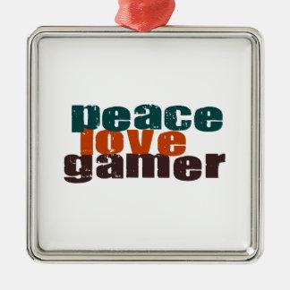 Peace Love Gamer Metal Ornament