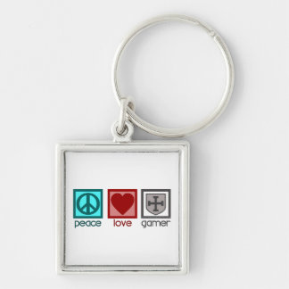 Peace Love Gamer Silver-Colored Square Keychain