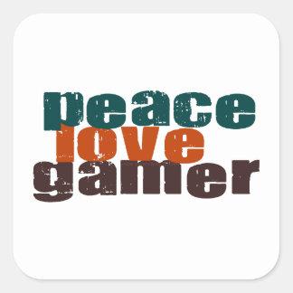Peace Love Gamer Square Sticker