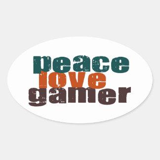 Peace Love Gamer Oval Sticker