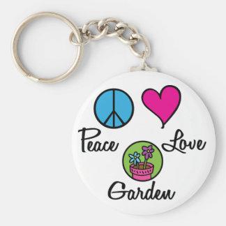 Peace Love Garden Basic Round Button Keychain