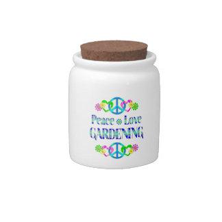 Peace Love Gardening Candy Jar