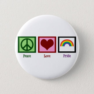 Peace Love Gay Pride Pinback Button