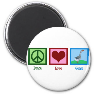Peace Love Geese 2 Inch Round Magnet