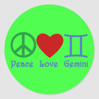Peace Love Gemini Astrological Design Classic Round Sticker