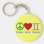Peace Love Gemini Astrological Design Keychains