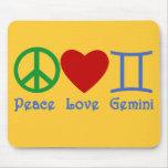 Peace Love Gemini Astrological Design Mouse Mat