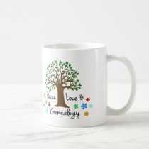 Peace Love Genealogy Family Tree Fun Gift Mug
