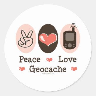 Peace Love Geocache Classic Round Sticker