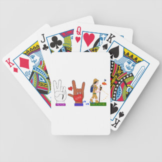 PEACE LOVE GEOCACHE GIRL BICYCLE PLAYING CARDS