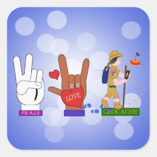 PEACE LOVE GEOCACHE GIRL SQUARE STICKER