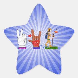 PEACE LOVE GEOCACHE GIRL STAR STICKER