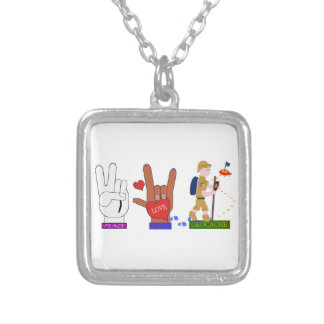 PEACE LOVE GEOCACHE GUY SILVER PLATED NECKLACE