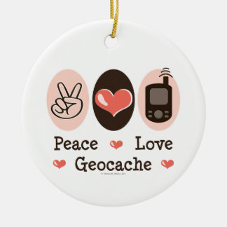 Peace Love Geocache Ornament
