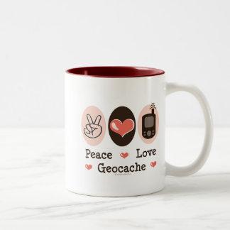 Peace Love Geocache Two-Tone Coffee Mug