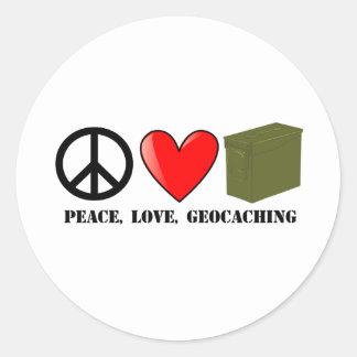 Peace, Love, Geocaching Classic Round Sticker