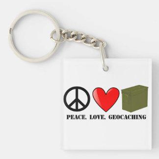 Peace, Love, Geocaching Keychain