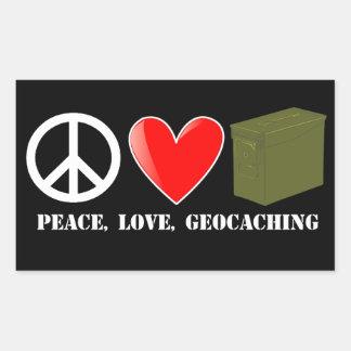 Peace, Love, Geocaching Rectangular Sticker
