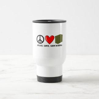 Peace, Love, Geocaching Travel Mug