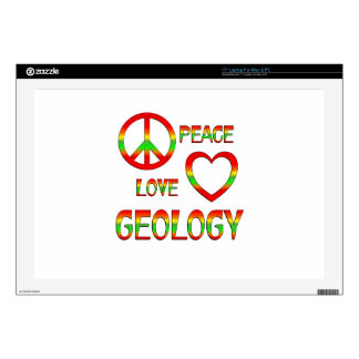 """Peace Love Geology 17"""" Laptop Decals"""