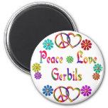 PEACE LOVE GERBILS FRIDGE MAGNETS