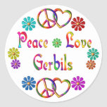 PEACE LOVE GERBILS ROUND STICKER
