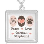Peace Love German Shepherds Necklace