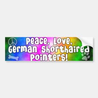 Peace Love German Shorthair Pointer Bumper Sticker Car Bumper Sticker