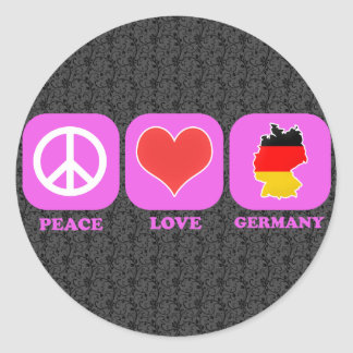 Peace Love Germany Classic Round Sticker
