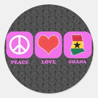 Peace Love Ghana Round Stickers