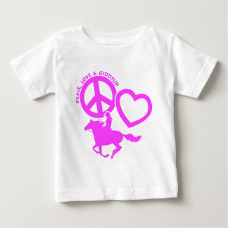 PEACE-LOVE-GIDDYUP BABY T-Shirt