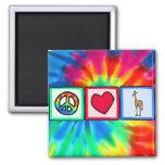 Peace, Love, Giraffes 2 Inch Square Magnet